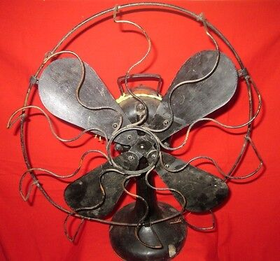 """Vintage Collectible 16"""" Brass Blade & Copper Net/Cage 220 A.C.#2385 Electric Fan"""
