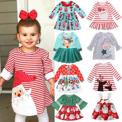 Christmas Baby Girl Strap Dress Toddler Princess Party Dresses Clothes Outfit