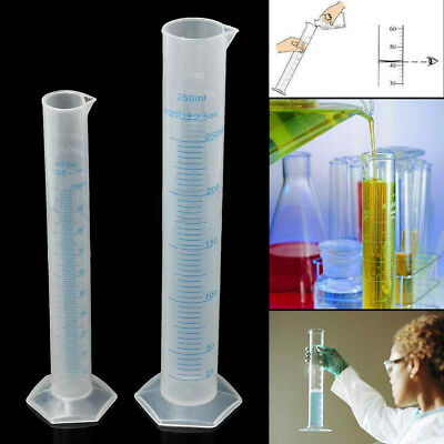 100/250ml Plastic Graduated Measuring Cylinder Liquid Tube Lab Test Cup Eager