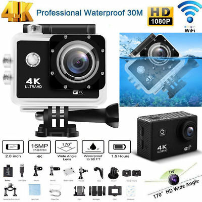 16MP 4K 2'' Ultra HD 1080P WiFi Sports Kamera Helm Cam Action DV Videorecorder