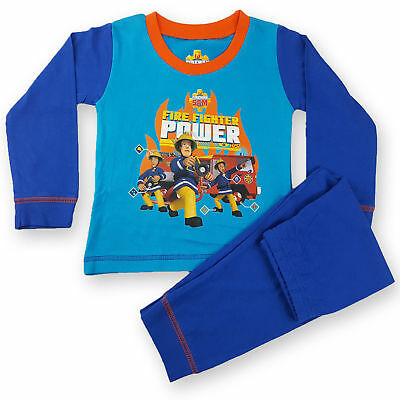 Baby Toddler Boys Fireman Sam Long Pyjamas PJs Nightwear Blue 12-18 months