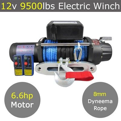 12V 9500lbs Electric Winch 8mm 28m Dyneema Synthetic Rope 4X4 9000lbs 12000lbs