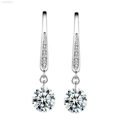 25AF Crystal Silver Plated Hoop Earrings Long Ear Stud Dangle Wedding Bridal Par
