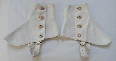 "Vintage 1930's Approx Teen Boys' Cream Canvas Spats 8 1/2"" Long 5"" High"