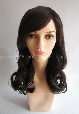 Fashion Women Girl Mix Brown Classic Long Wavy Curly Bangs Cosplay Hair Full Wig