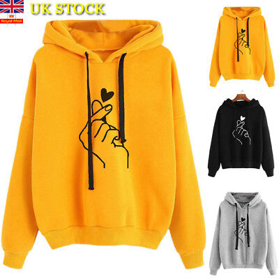 Womens LOVE Heart Hooded Hoodies Sweatshirt Ladies Long Sleeve Pullover Jumper