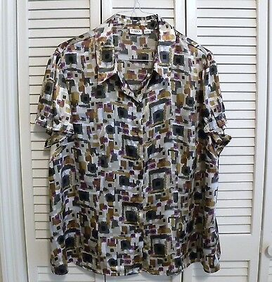 CATO WOMAN SS Button Blouse Plus Sz 22/24W Gray Gold BrownPurple Black Poly