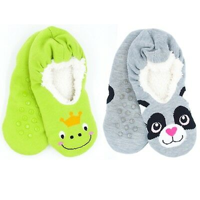 Cute Kids Children Animal Slipper Fluffy Soft Warm Socks Green Frog Grey Raccon