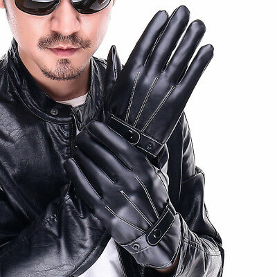 Mens PU Leather Gloves Touch Screen Thermal Thinsulate Lined Driving Warm Glove