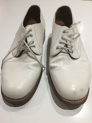 ROYAL NAVY OFFICERS White Leather Tropical Dress Parade Shoes SIZE 6M Used
