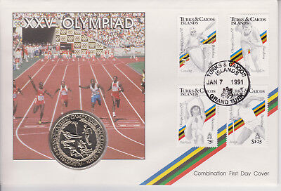 Turks & Caicos Pnc Coin Cover 1991 1992 Barcelona Olympic Games 5 Crown Coin