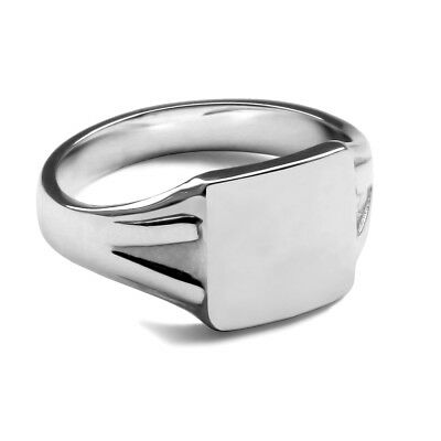 Square Head Signet Ring 925 Sterling Silver Solid 10X10x2mm UK Hallmarked 6.4g