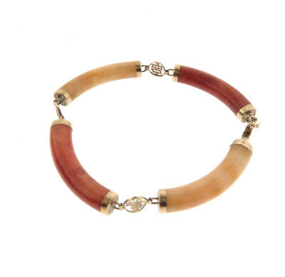 """Vintage 14k Gold Chinese Red Yellow Jade Sectional Link Bracelet 8mm 7.25"""""""