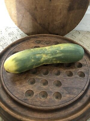 Early Antique Italian Alabaster Stone Vegetable Yellow Green Cucumber Pickle
