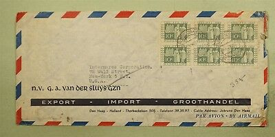 DR WHO 1952 NETHERLANDS CANCEL AIRMAIL TO USA BLOCK  d30658