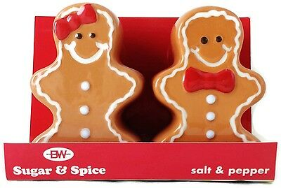 Boston Warehouse Sugar & Spice Gingerbread Boy & Girl Salt & Pepper Shakers NIB