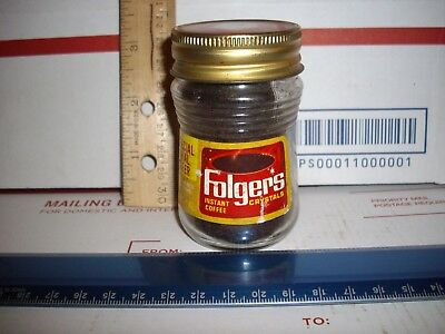 Vtg. Trial Size Unopened Mini Folgers Instant Coffee-Lable-Lid-Original