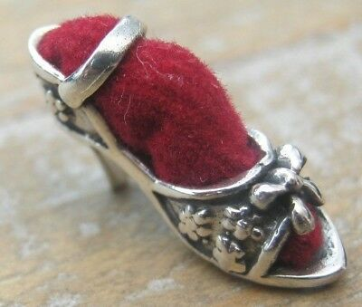 Novelty Antique Style Tiny Sterling Silver Princess Slipper Shoe Pin Cushion Red