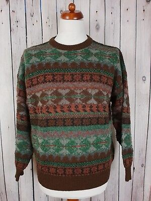 Vtg 1980s Brown Crew Neck Cosby Pattern Acrylic / Wool Short Fit Jumper *M* HG42