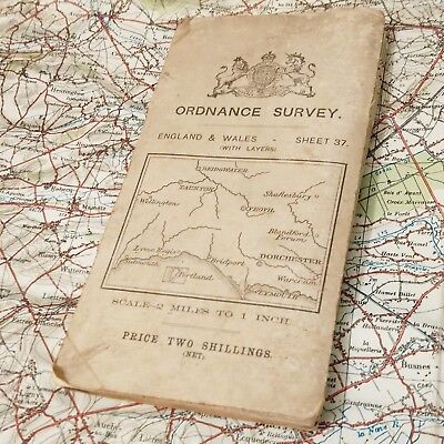 1913 Taunton Map Ordnance Survey British Vintage Os Antique Old England Uk