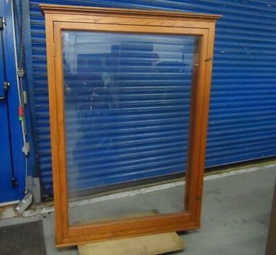 2 Giant Wood Glass Display Case Frame Gallery Museum Style Freestanding Vintage