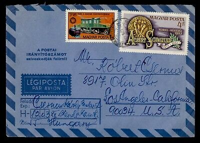 DR WHO 1975 BUDAPEST HUNGARY CANCEL AIR MAIL TO USA SPACE ON BACK  d25717