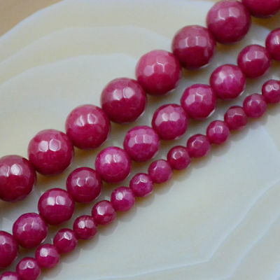 """Natural New 6/8/10mm Faceted Red Ruby Round Gemstone Loose Beads 15"""" AAA"""