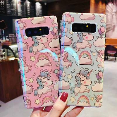 Cute Unicorn girls Blue light Phone Case For Samsung S8 S9 Plus  Note 8 Note 9