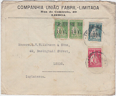 Portugal WWI Postal Cover with 1$60E and 10C Overprints Stamps