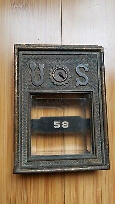 Antique early1900's Brass U.S. POST OFFICE MAIL BOX DOOR w/BEVELED GLASS 58 304