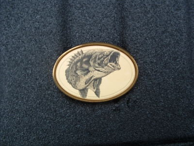 Large Mouth Bass Rare Vintage Solid Brass Belt Buckle Made In Usa By Barlow