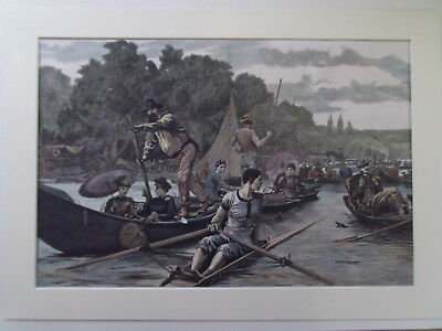 HENLEY REGATTA LARGE ANTIQUE PRINT DATED 1880 HAND COLOURED AND MOUNTED 38x56CM