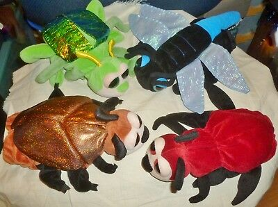 Lot/4 CALTOY INSECT HAND PUPPETS: Dragonfly, Red Ant & 2 Beatles, Kids & Adults