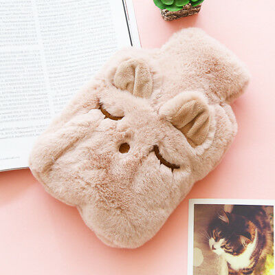 LARGE RUBBER HOT WATER BOTTLE WITH WARM FLEECE FUR ANIMAL COVER TOY Christmas