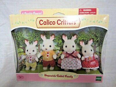 New Calico Critters Hopscotch Rabbit Family Factory Sealed 4 Fuzzy Figures #18