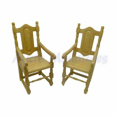 Dolls House Pine Carver Chairs 1/12th Scale (00377)