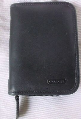 Coach Black Leather Zipper Organizer Day Planner Notepad EUC