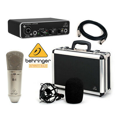 Behringer Studio Podcast Audiophile Pkg Combo B1 Mic UMC22 Audio Interface + XLR