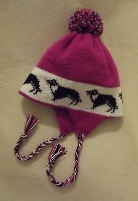BORDER COLLIE  dog NEW knitted lined CERISE ADULT TRAPPER EAR FLAP HAT