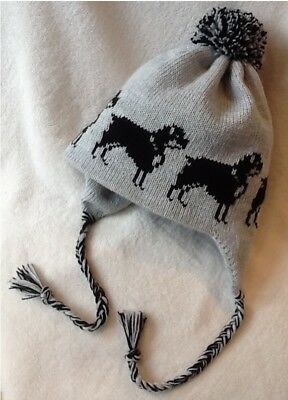 ROTTWEILER dog knitted lined GREY ADULT TRAPPER EAR FLAP HAT