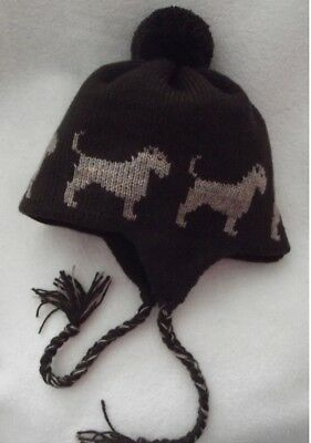 BORDER TERRIER dog knitted lined BROWN ADULT TRAPPER EAR FLAP HAT