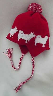SAMOYED  dog knitted lined RED ADULT TRAPPER EAR FLAP HAT
