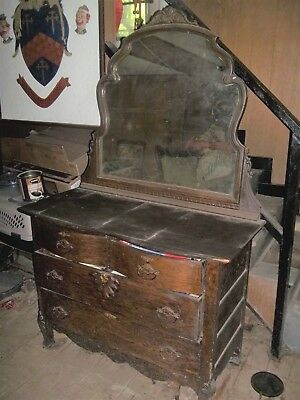 ANTIQUE wood FARMHOUSE farm house DRESSER vanity w/ MIRROR pick up only Maryland
