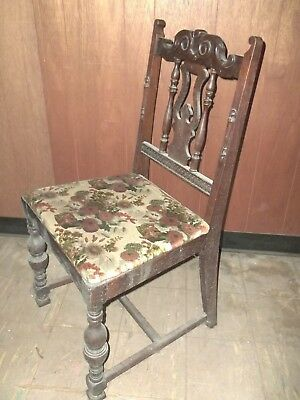ANTIQUE hand carved WOOD armless ACCENT CHAIR dining Pickup only Maryland
