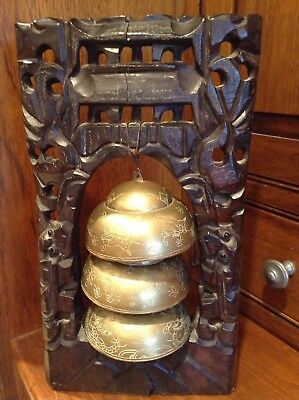 Rare Magnificent Antique Chinese Tibetan Brass Temple Bells In Wood Frame
