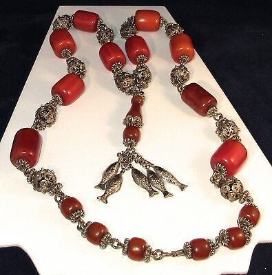 """1973 Middle Eastern CHERRY AMBER BAKELITE+ Silvered Filigree 38""""lg.BEAD NECKLACE"""