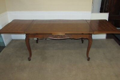 Vintage Camard French Walnut Dining Table With Retractable Leaves, High End