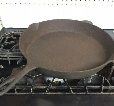 "Antique LODGE Sz 14 Cast Iron Skillet 14"" 3 Notch Heat Ring Superb Condition"