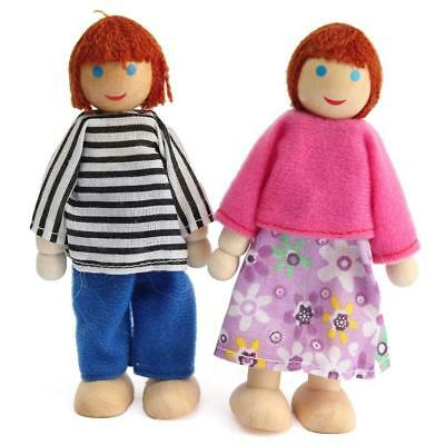 Cute Wooden House Family People Dolls Set Kids Children Pretend Play Toy Gift £