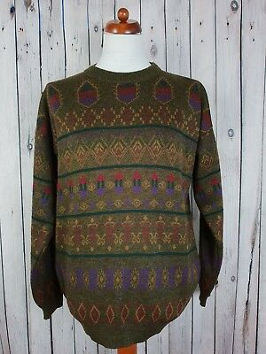 Vtg 1980s Brown Crew Neck Classic Pattern Wool / Acrylic Jumper *46* HG65